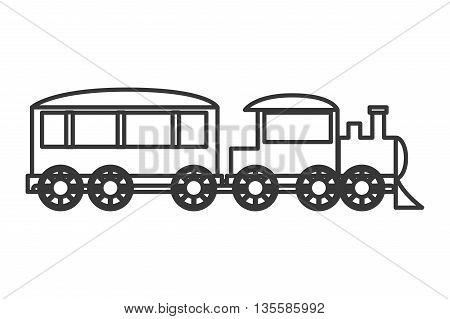 flat design black line toy train vector illustration