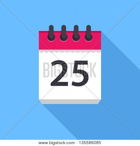 Calendar icon. Flat Design vector icon. Calendar on blue background. 25 day