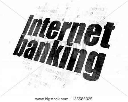 Banking concept: Pixelated black text Internet Banking on Digital background