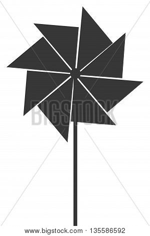 flat design grey toy pinwheel icon vector illustration