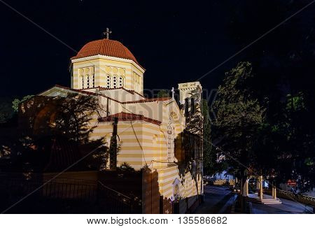 view on the Greek church Greece Rhodes night lights
