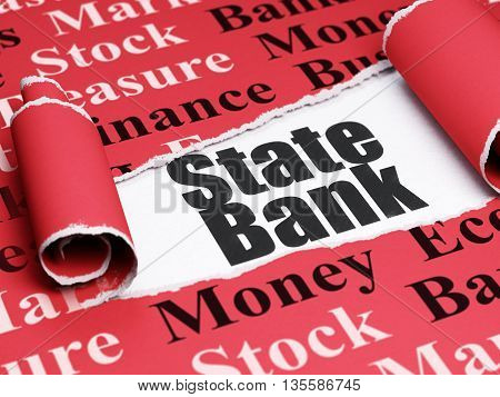 Currency concept: black text State Bank under the curled piece of Red torn paper with  Tag Cloud, 3D rendering