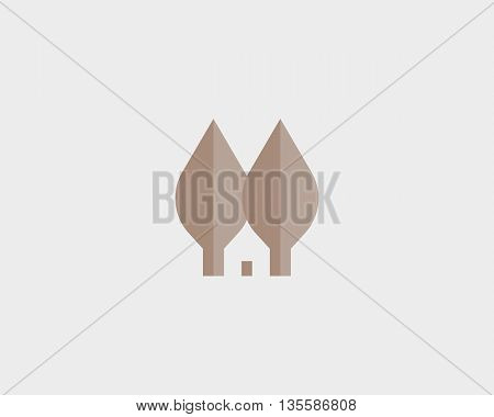 Leaf house logotype. Nature home logo vector symbol. Eco realty sign.