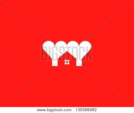 Heart house logotype. Love home logo vector symbol