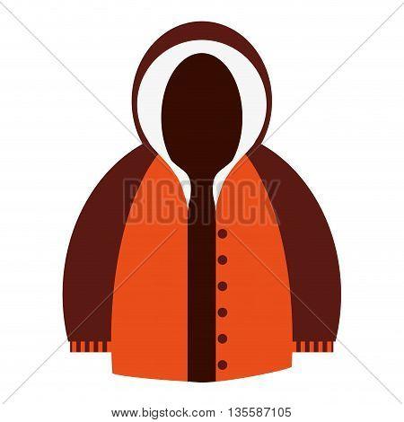 flat design orange and brown hooded winter jacket icon vector illustration