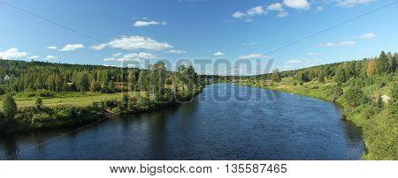 Panoramic Shot Of The Idyllic River Vaesterdalaelven In Saelen
