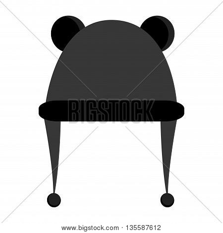 grey winter knit hat with two round ears on top icon vector illustration