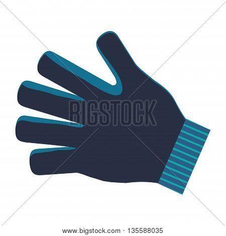 flat design single blue winter glove icon vector illustration