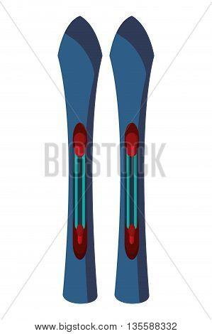 Pair of sport ski, isolated on white, vector illustration