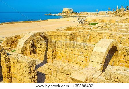 The ruined ancient city of Caesarea Maritima is the notable landmark and mandatory element of the tourist routes Israel.