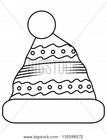 black line winter knit hat with pompom on top icon vector illustration