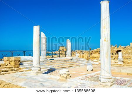 The ruins of the Roman Thermae the large bath complex located on the coast in Caesarea Israel.
