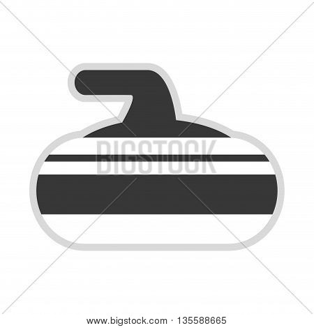 flat design grey and white curling stone icon vector illustration