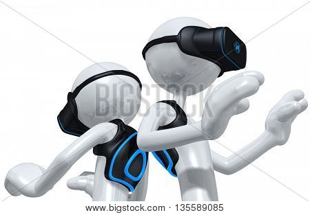 Virtual Reality VR Headset Display Goggles Glasses  Device With Backpack 3D Illustration