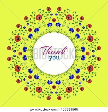 A wreath of poppies and cornflowers on a Bright yellow background.The inscription Thank you in red and blue.The isolated image on a white background. Vector illustration.Floral frame.