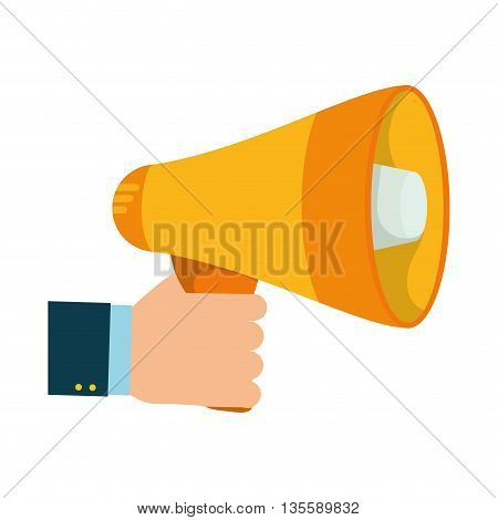 Communication represented by megaphone and hand over isolated and flat background