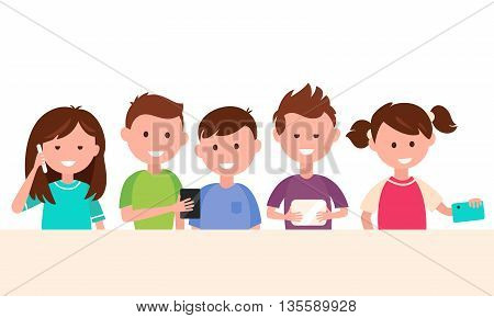 Kids Using Tech Gadgets. Children and Technology Concept Vector Illustration
