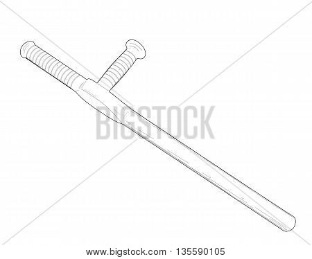 Tonfa, police baton - modern vector illustration.
