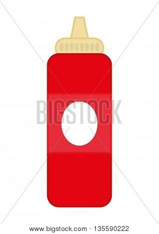 Fast food represented by sauce bottle over isolated and flat background