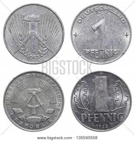 One Pfennig Coin Of East German Mark