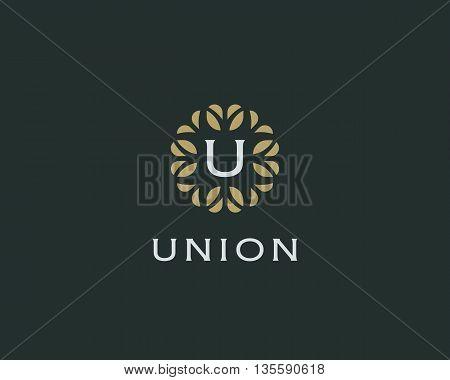 Premium monogram letter U initials logo. Universal symbol icon vector design. Luxury abc leaf logotype