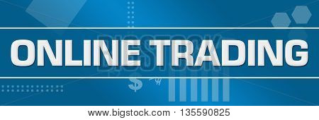 Online trading text written over abstract blue background.