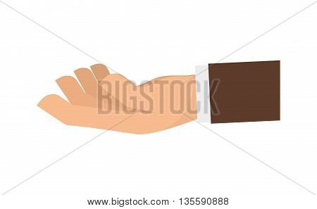 Hand represented by specific gesture with fingers icon over isolated and flat background