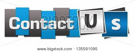 Contact us text written over blue grey background.