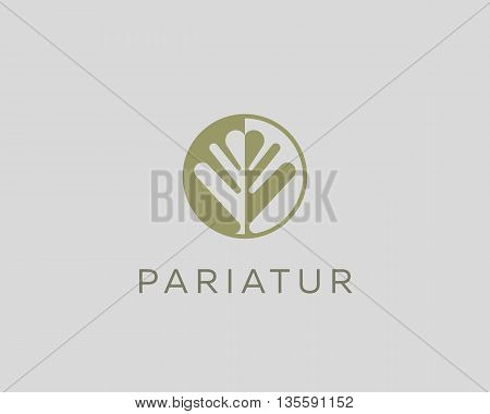Negative space leaf shape. Circle tree logo design. Ecology universal icon. Nature product vector logotype