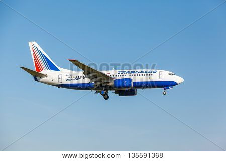 VNUKOVO, MOSCOW REGION, RUSSIA - 28 August 2013, 2013: Airplanes at Vnukovo international airport. Transaero Airlines Boeing 737 landed to runway