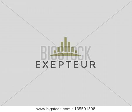 Abstract City logo design template. Premium real estate finance sign. Universal business foundation district vector icon.