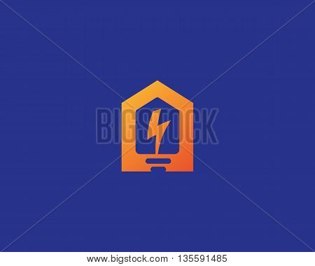 Abstract flash house logo design template. Universal home smart idea icon. Bulb negative space vector logotype.