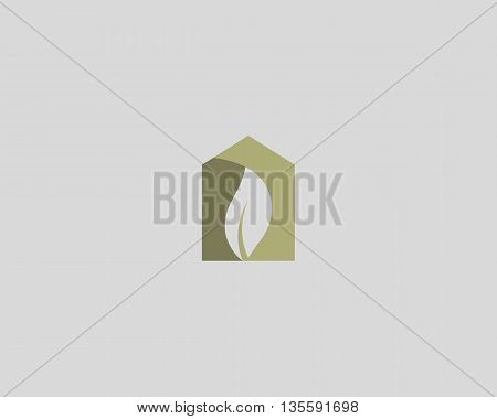 Abstract nature house logo design template. Leaf in negative space home shape vector logotype.