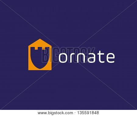 Fortress house guard logo design template. Shield negative space home shape vector logotype.