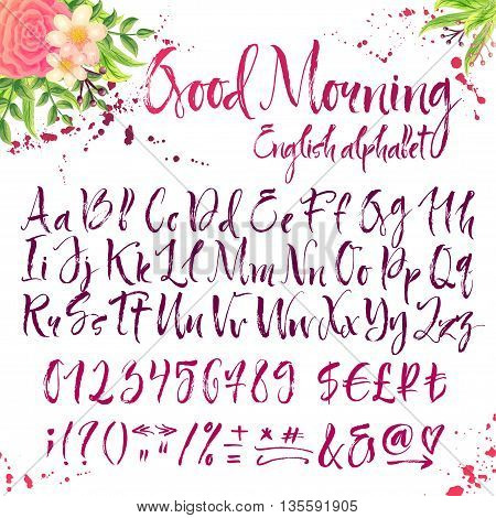 Calligraphic english alphabet. Title is Good morning. Floral decorations and inky splatters on white background.