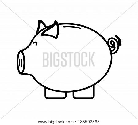 Money and financial item represented by piggy icon over isolated and flat background