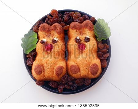 Biscuits in the form of figures of bunnies