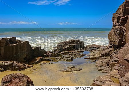Rock formation known as stone Guardhouse located in Torres the northern coast of Rio Grande do Sul