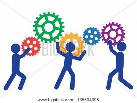 Peoples are moving gears. Vector illustration of a business concept