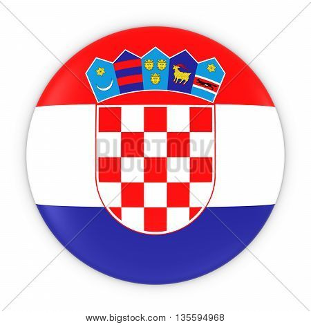 Croatian Flag Button - Flag Of Croatia Badge 3D Illustration