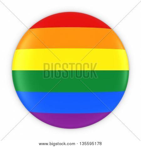 Gay Pride Flag Button - Rainbow Flag Badge 3D Illustration