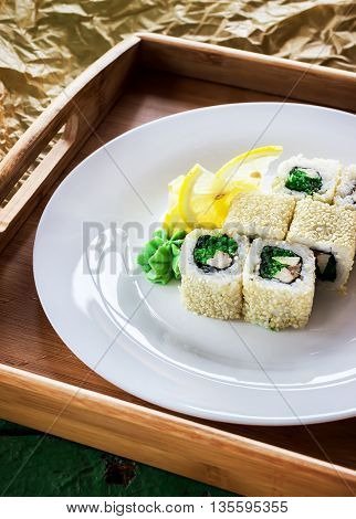 Rolls On White Plate. Wooden Tray.