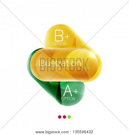 Round business options infographics. Glossy capsule design. Vector illustration