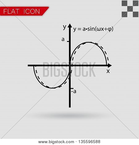 Vector illustration of mathematics functions with red mark