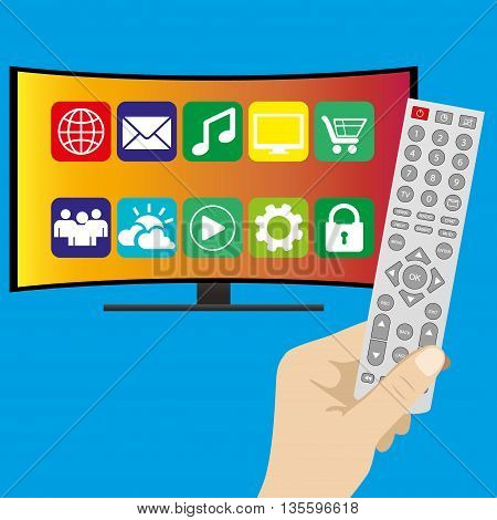 Hand holding remote control and curved ultra HD TV flat vector illustration on blue background