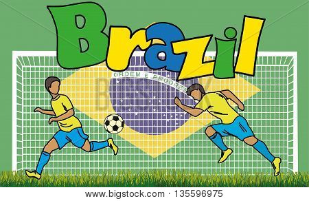 Cartoon football picture on the background of the Brazilian flag and an inscription Brazil, vector illustration