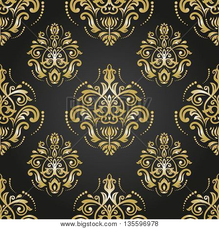 Seamless oriental pattern in the style of baroque. Traditional classic vector ornament. Black and golden pattern