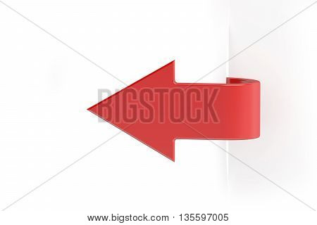 paper red arrow banner 3D rendering on white background