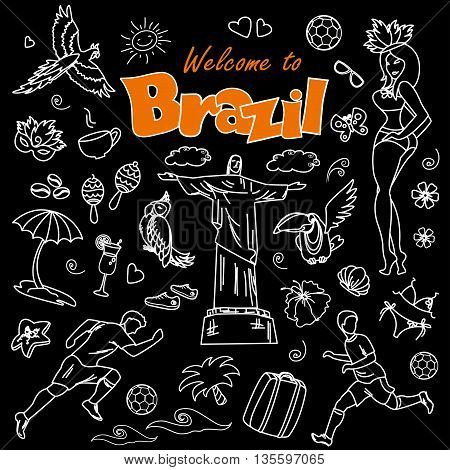 Big cartoon set of Brazilian templates - football, Brazilian accessories, clothes, trees, musical instruments, animals.White on black background