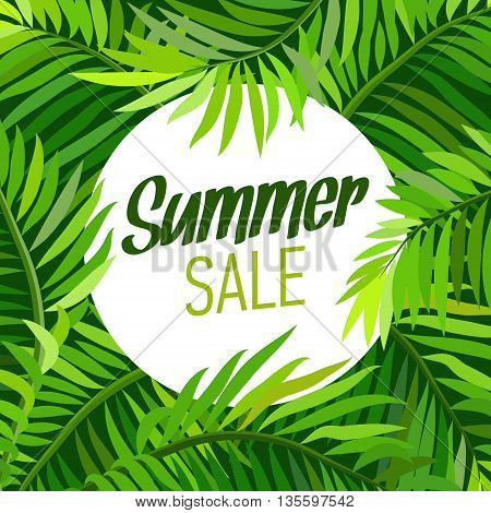 Summer party poster with palm leaf and lettering. Summer sale. Vector illustration